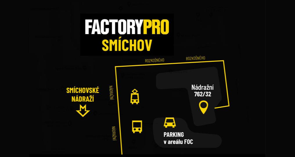 Mapa Factory Pro Smíchovské nádraží